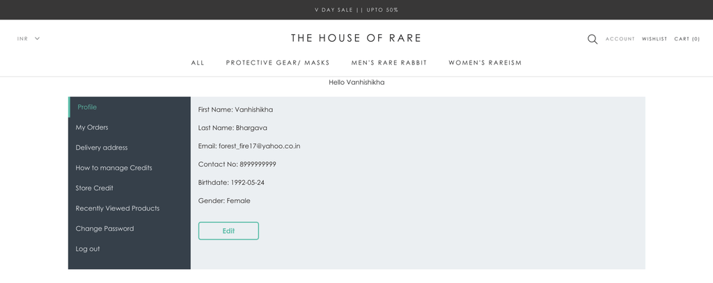 house of rare customer account page for customer retention