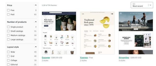 shopify themes options