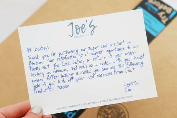 ecommerce thank you note for branding