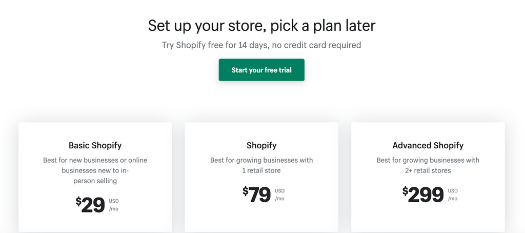 shopify vs wix - pricing