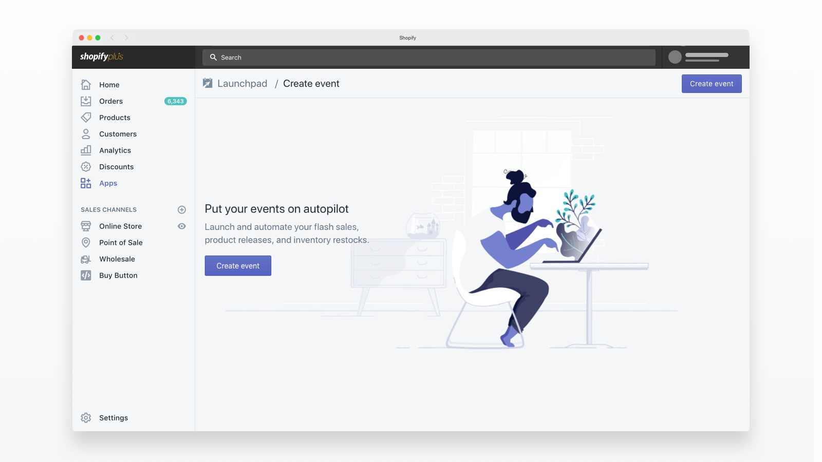 shopify launchpad create events