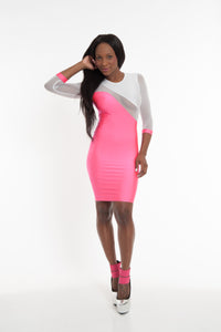 Pink & White Party Bodycon Dress