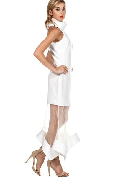 White Sheer Inset Solid Halter Maxidress