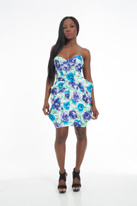 Floral Inverted Pleat Sweetheart Bustier Cocktail PDress
