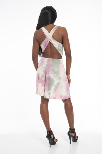 Sage/Purple Tie Dye Studded Backless Mini Sundress
