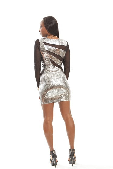 Black Silver Galactic Space Sexy Mini Dress