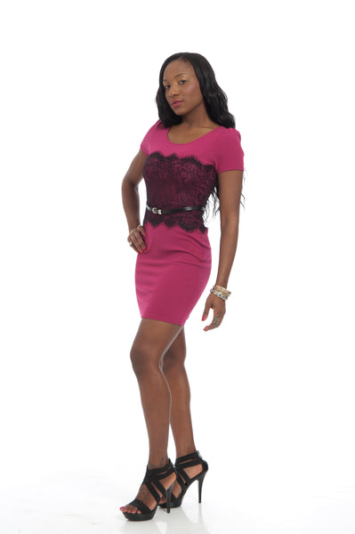 Magenta Black Lace Decor Sexy Party Dress