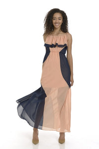 Peach Navy Long Maxi Dress