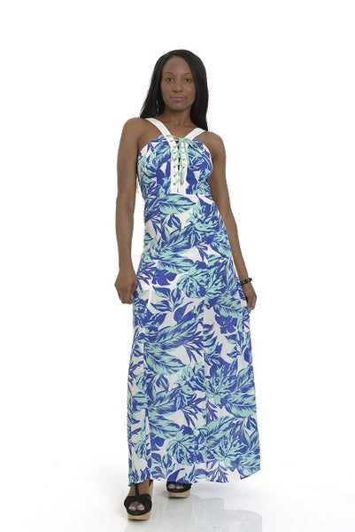 White, Mint, Blue Tropical Print Maxi Dress
