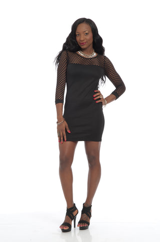 Black Long Sleeves Mesh Sexy Bodycon Party Dress