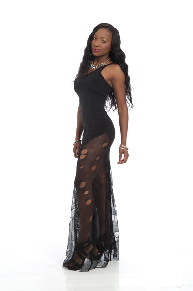 Black Mesh Inset Long Elegant Maxi Dress
