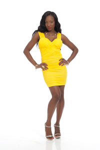 Yellow Runched Zipped Back Sexy Party Mini Dress