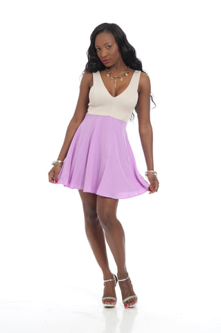 Lavender V Neck Two Tone Sexy Mini Dress