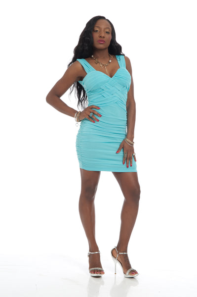 Mint Runched Zipped Back Sexy Party Mini Dress