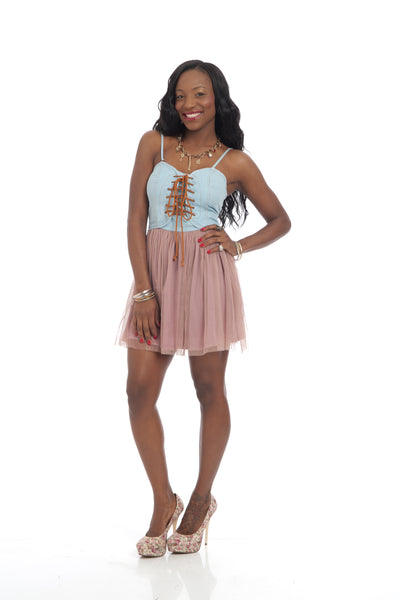 Sky Blue Dusty Pink sexy part Mini Dress