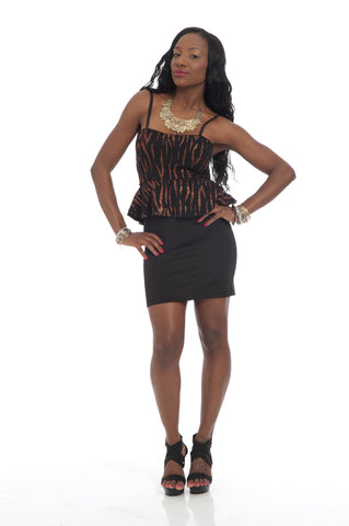 Black Orange PepLum Style Fitted Dress Party Dress