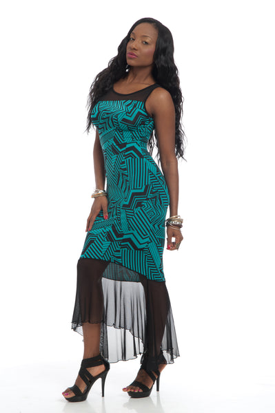 Black Emerald Mesh Maxi Dress