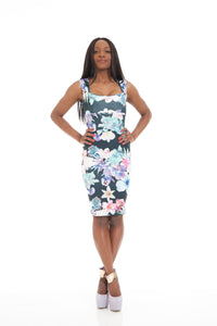 Floral Navy Print Bodycon Dress