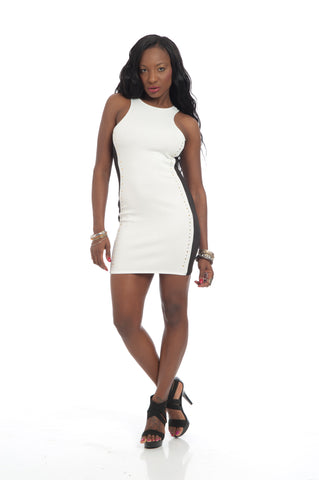 Sassy Black White Bodycon Tank Dress