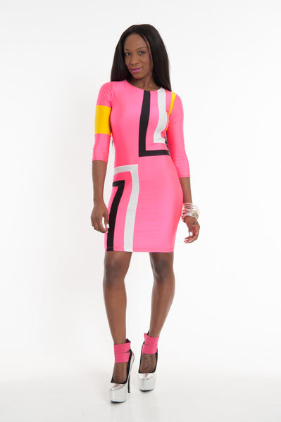 Neon Pink Sexy Bodycon Dress