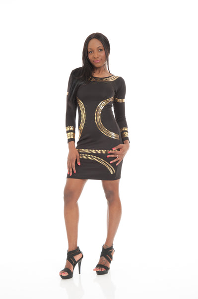 Black & Gold Foil Print Bodycon Dress