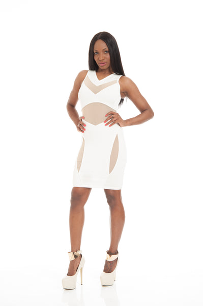 White Beige Mesh Cutouts Sexy Bandage Dress