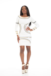White & Gold Foil Print Bodycon Dress