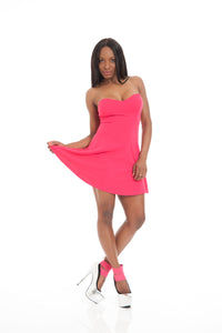 Pink Strapless Fusha Sexy Mini Dress