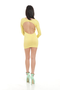 Sunny Yellow Backless Fitted Long Sleeve Clubbing Mini Dress