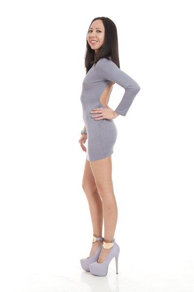 Dove Gray Backless Fitted Long Sleeve Clubbing Mini Dress