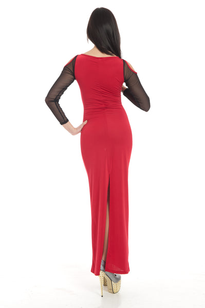 Red Cold Shoulder Sleeve Keyhole High Maxi Dress