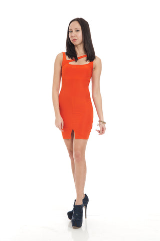 Bold Orange Cut Out Slit Front Fitted Clubbing Mini Dress