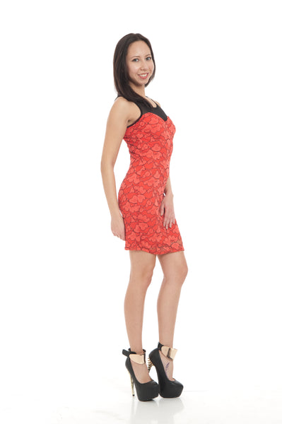 Red Black Sweetheart Floral Lace Line Mini Dress