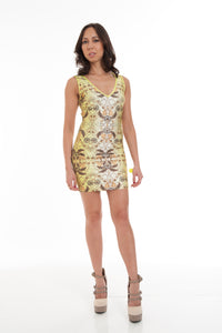 Copy of Orange Multi Sleeveless Printed Sexy Bandage Dress