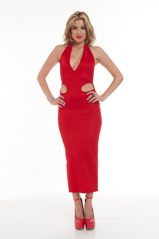 Cherry Red Cut Out Backless Halter Scuba High Slit Evening Party Maxi Dress