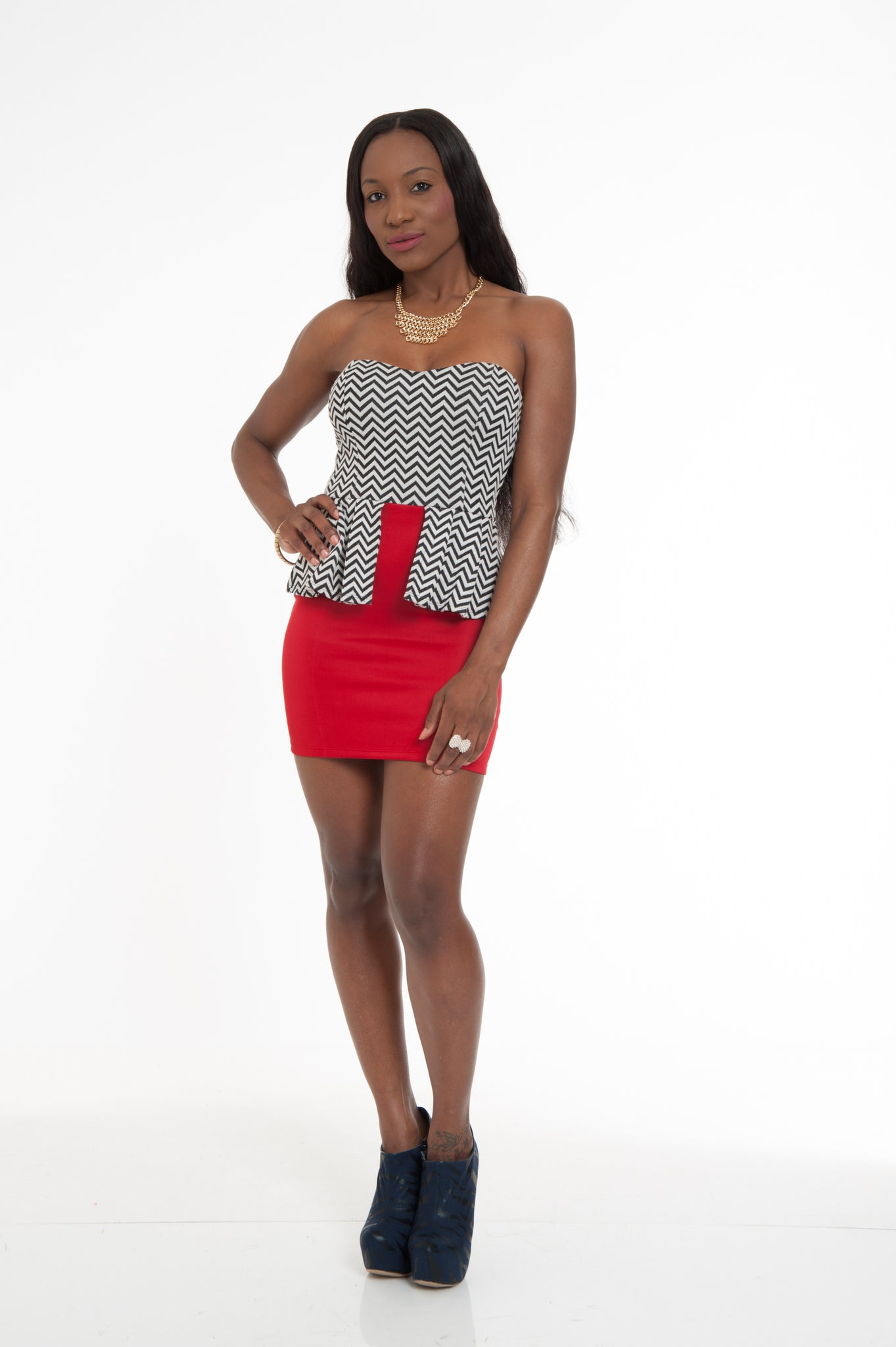 Red White & Black Peplum Party Dress