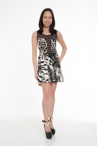 Black Animal Print Lace Front Mini Dress