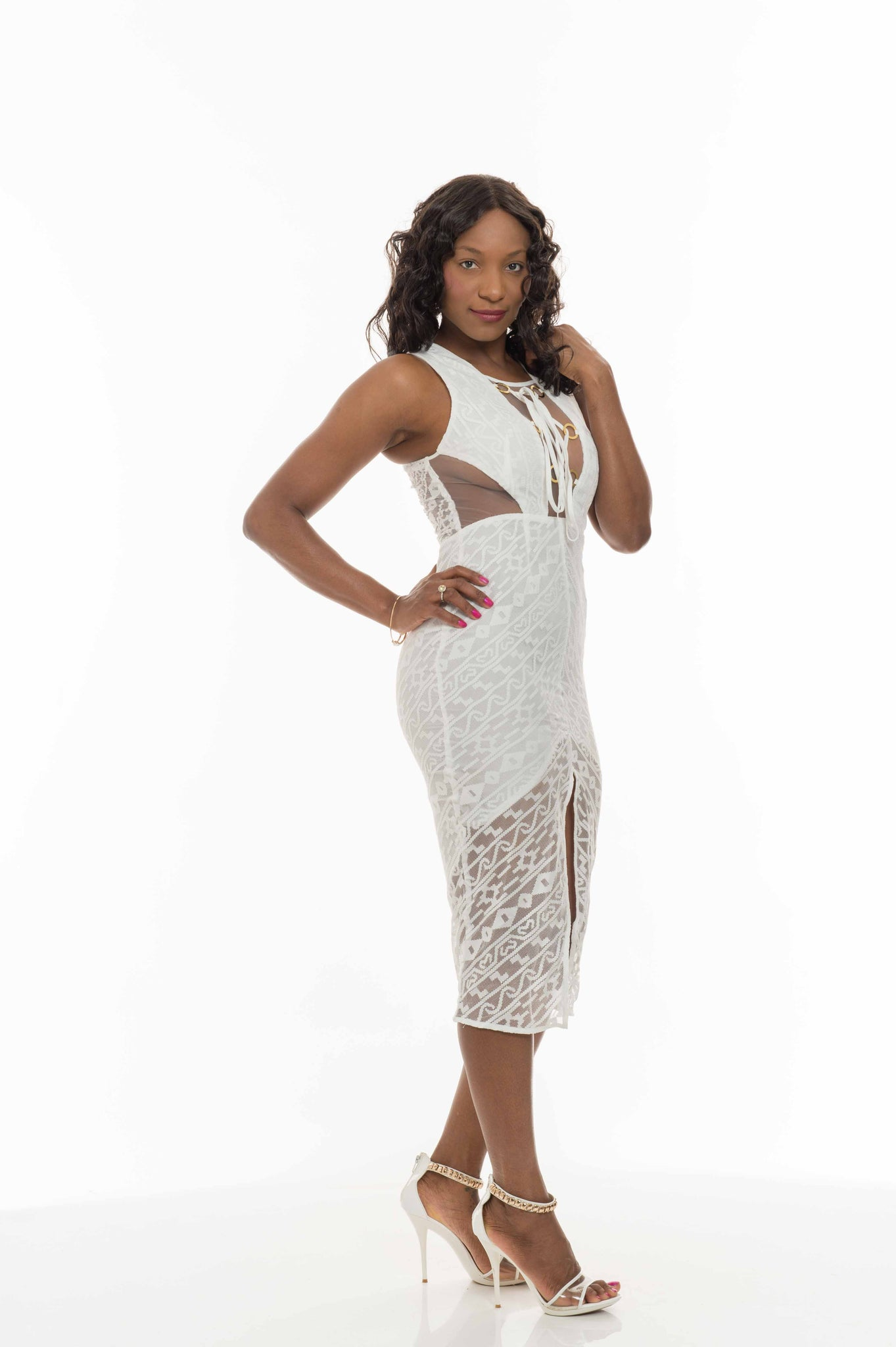 White Lace Inset Maxi Dress