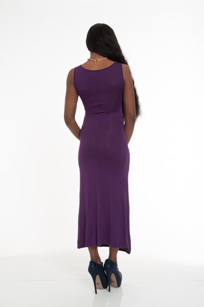 Purple Black Mesh Insert Maxi Dress