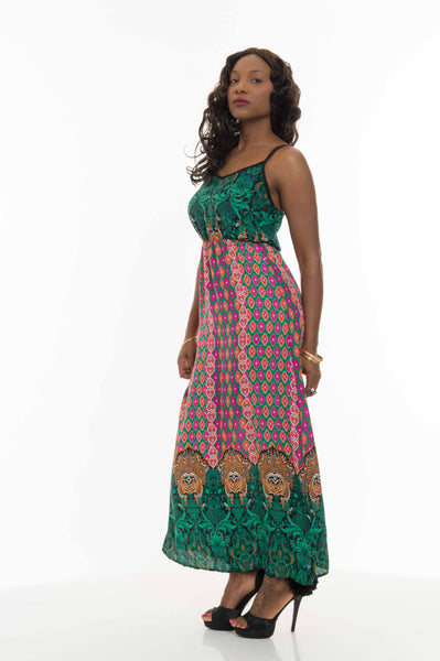 Black Green Mageta Long Maxi Dress