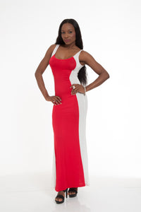 Red Cream Sleevless Maxi Dress