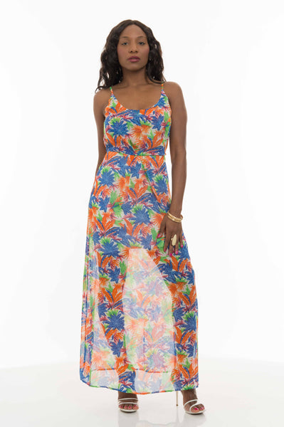 Multi Print Floral Long Maxi Dress