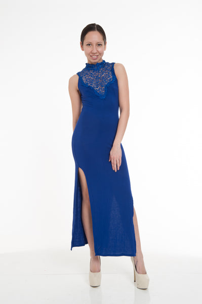 Blue Sleeveless Two Side Slits Maxi Dress