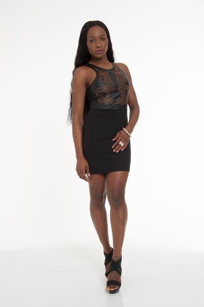 Black Bronze Sexy Bodycon Dress