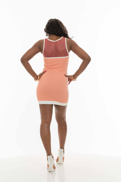 Coral Lucie Mesh Swirl Bodycon Dress