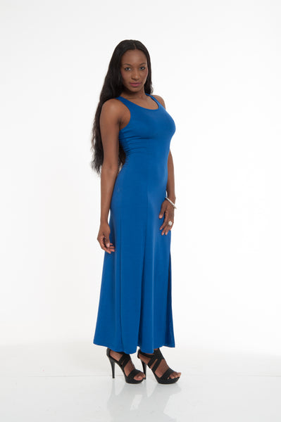 Royal Blue Side Slit Maxi Dress