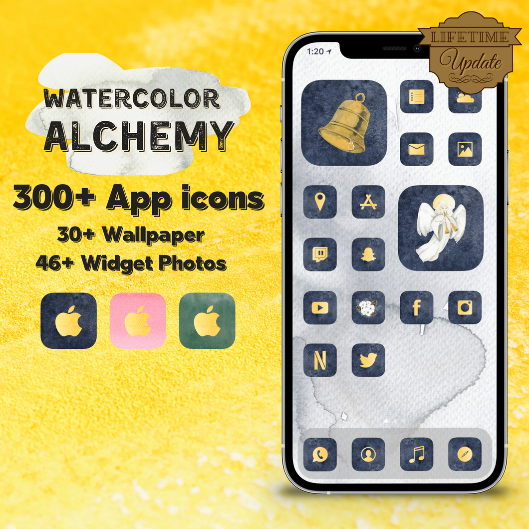 300 WaterColor Alchemy icon pack, iOS 14 App Icons, Social media Icons, Aesthetic iPhone Home Screen, Customize, Gold, Black, Pink, Green