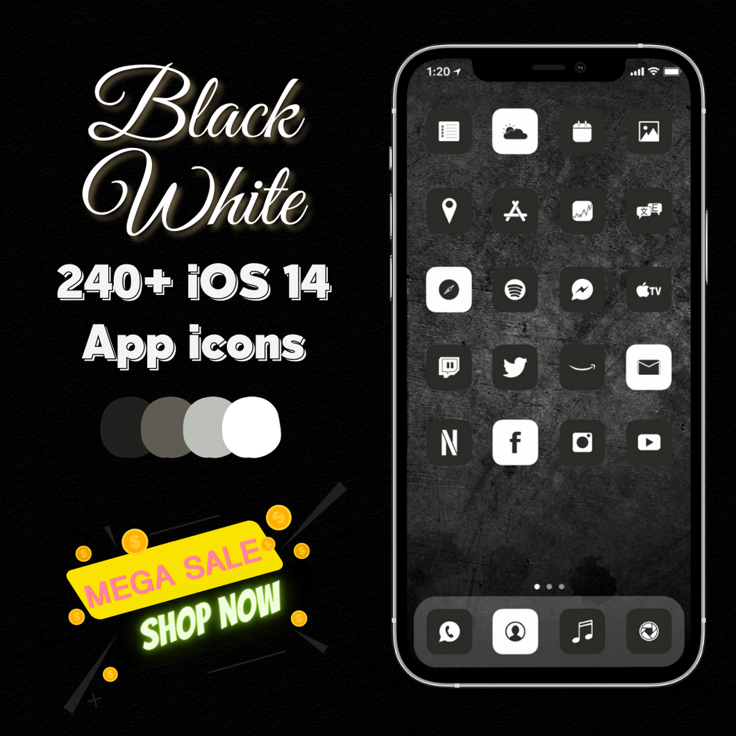 240 Black, Grey and White icon pack,  iOS 14 Icons, Social media Icons, Aesthetic iPhone Home Screen