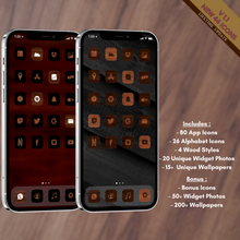 Load image into Gallery viewer, 400 Wood icon pack, iOS 14 App Icons, Social media Icons, Aesthetic iPhone Home Screen, Customize lock, Black, White, Wood, Wooden