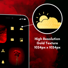 Load image into Gallery viewer, 100 Chilly icon Set, iOS 14 Icons, Social media Icons, Aesthetic iPhone Home Screen, customize lock screen, Gold, Black, Red